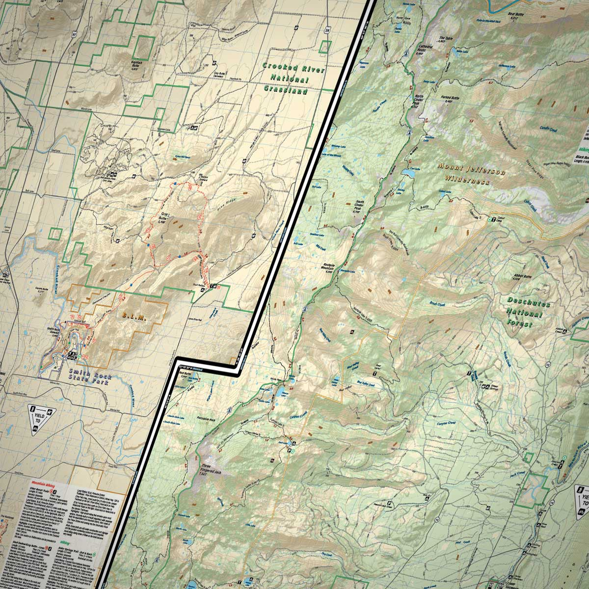 sisters  redmond trails adventure map » bend trails gear - printed smith rock trail map